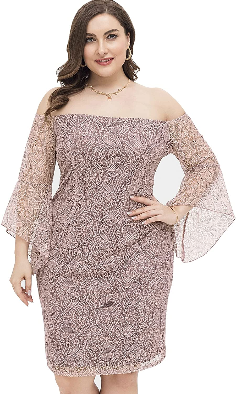 DolphinBanana Women's Plus Size Off Shoulder 3/4 Sleeve Pink Cocktail Dress
