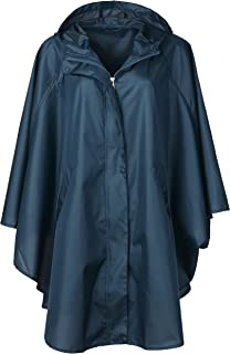 Women's Waterproof Packable Batwing-Sleeved Raincoat Rain Poncho Jacket Coat Hooded for Adults with Pockets