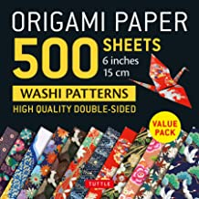 """Origami Paper 500 sheets Japanese Washi Patterns 6"""" (15 cm): High-Quality, Double-Sided Origami Sheets with 12 Different D..."""