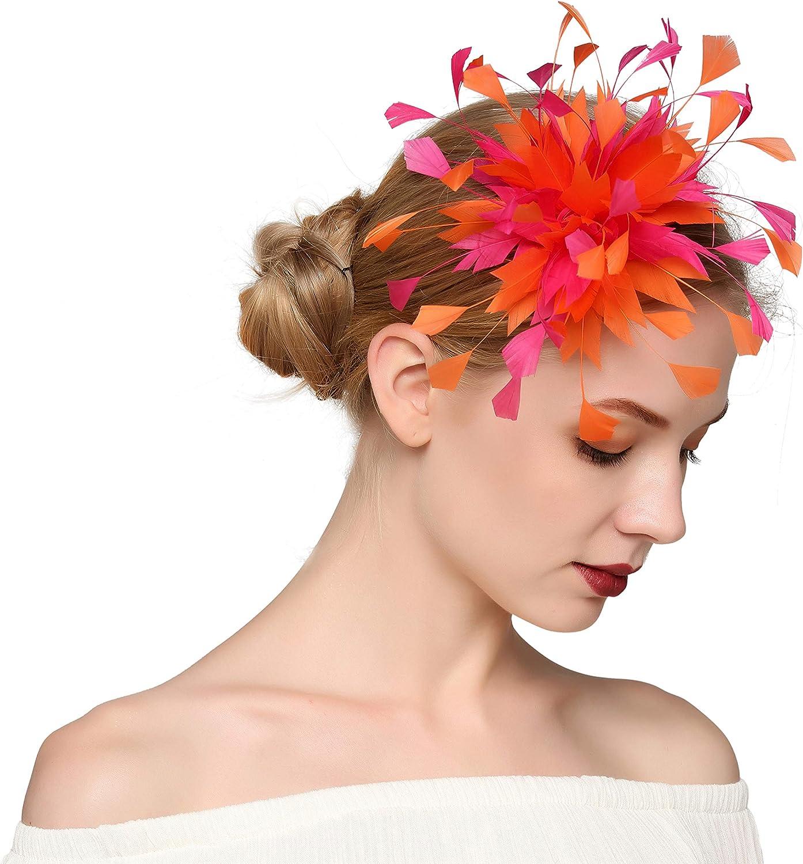VIMARO Elegant Orange Feather Wedding Fascinator Wedding Hair Accessories for Women