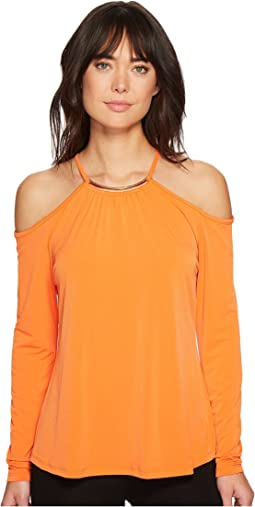 Neck Plate Cold Shoulder Top
