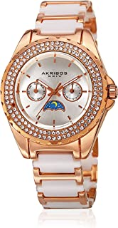 Akribos Xxiv Casual Watch For Women Analog Mixed - Ak961Rgwt, Ceramic Strap