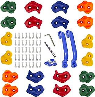 KINSPORY 20pc Colourful Pig Nose Shape Rock Climbing Holds Indoor Outdoor Kids Playground Play Set Building with Two Blue ...