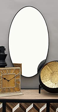 """Benzara Antique Colonial Chic Wood Oval Wall Mirror, 17"""" L x 2"""" W x 32"""" H, Reflective Finish"""