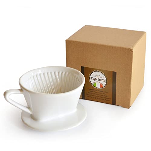 Caffé Italia Permanent Coffee Filter - Excellent aromatic Coffee Flavour - Hand Filter, Ceramic Coffee Filter Attachment - Size 1 for 1-2 Cups - White - Premium Quality