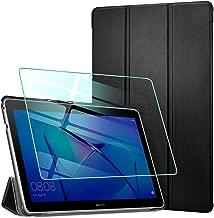 AROYI Cover Huawei Mediapad T3 10 + Vetro Temperato, Custodia Ultra Sottile Protettiva Tablet in Silicone PU Case per Huawei Mediapad T3 10 9.6 Pollici Tablet, Nero