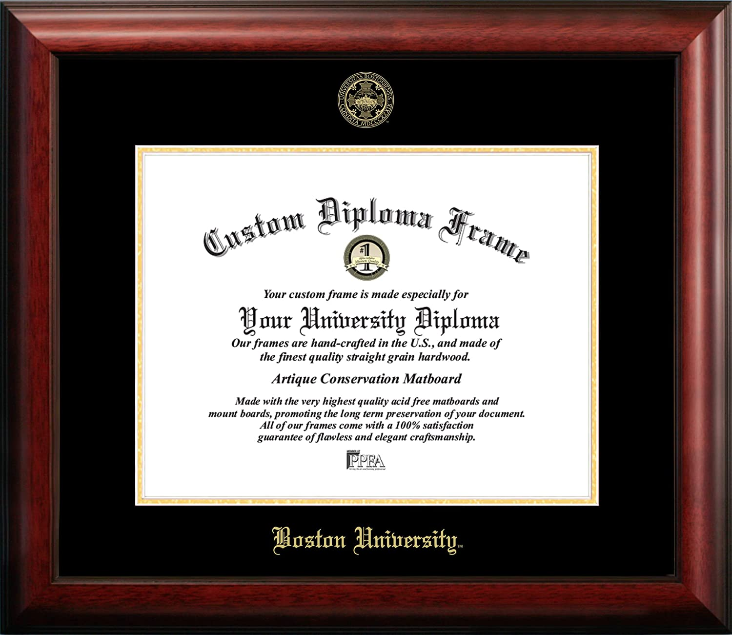 Campus Images MA993GED  Boston University Embossed Diploma  Frame, 11  x 14 , gold