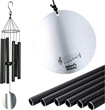 "Nature's Melody 28"" Aureole Tunes Black Outdoor Windchime with 6 Tubes Tuned to E Pentatonic Scale, 100% Rustproof Aluminum, Powder Finish & S Hook Hanger for Sympathy, Memorial Gift or Zen Garden"