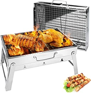 Mumoo Bear Barbecue Grill, Charcoal Grill Portable Folding BBQ Grill Barbecue Desk Tabletop Outdoor Stainless Steel Smoker...