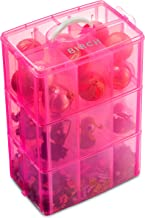LifeSmart USA Stackable Storage Container Pink Adjustable Compartments Compatible with Lego Dimensions Shopkins Littlest Pet Shop Arts and Crafts and More Deep 3 Tier
