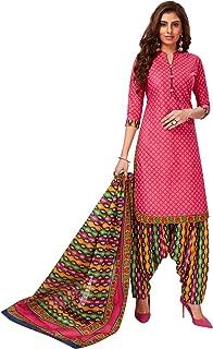 Jevi Prints Women's Cotton Printed Straight Stitched Salwar Suit Set (SUIT_SP-4644_Pink & Multicolor)