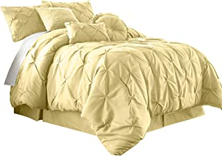 Chezmoi Collection Sydney 7-Piece Pintuck Bedding Comforter Set (King, Yellow)