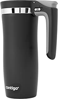 Contigo Handled AUTOSEAL Travel Mug Vacuum-Insulated Stainless Steel Easy-Clean Lid, 16 oz, Black