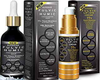 Fulvic Acid and Humic Trace Mineral - Drops 6 Month Supply Bundle with Fulvic Hydration Cream. All Natural Organic Plant D...