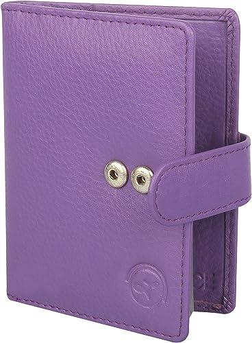 LIMERENCE® Premium Unisex Genuine Leather Credit Card Debit Card Holder- 24 Slots, Purple