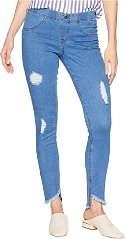 Angled Hem Denim Skimmer Leggings