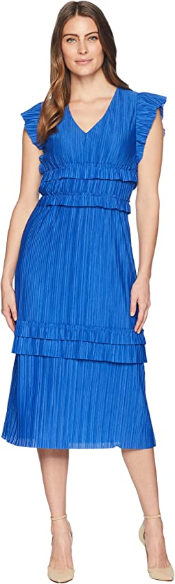 Pleated Short Sleeve V-Neck Midi Dress