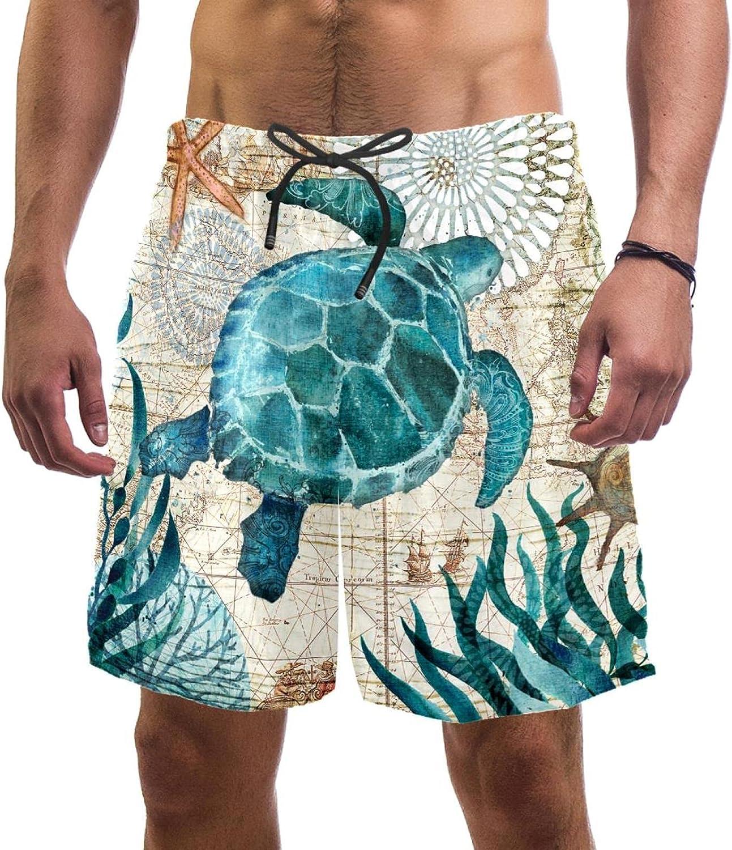 Men's Beach Shorts Vintage Blue Ocean Turtle Nautical Map Quick Dry Swim Short Trunks with Mesh Lining