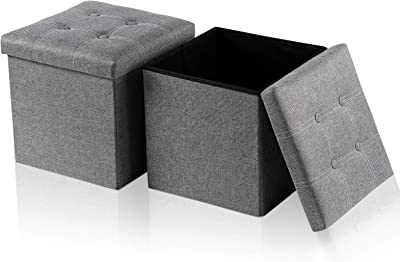 Large Linen Storage Ottoman Cube(2-Pack 15X15X15 Inch Folding Storage Box Chest with Lids,Memory Foam Seat Tufted, Bedroom Ottomans Cube, Foot Rest Stool(Grey, Cotton Linen)