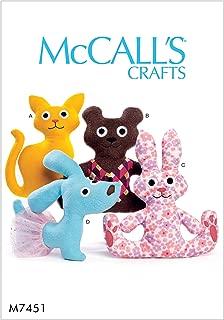 McCall's Patterns M7451OSZ Cat, Bear, Rabbit and Dog Stuffed Animals