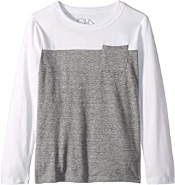 Super Soft Two-Toned Long Sleeve Pocket Tee (Little Kids/Big Kids)
