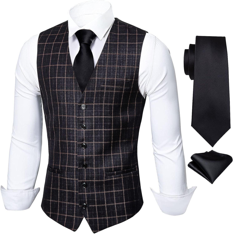 Barry.Wang Mens Plaid Suit Vest Formal Waist Coat with Necktie Rergular Fit Tops Classic