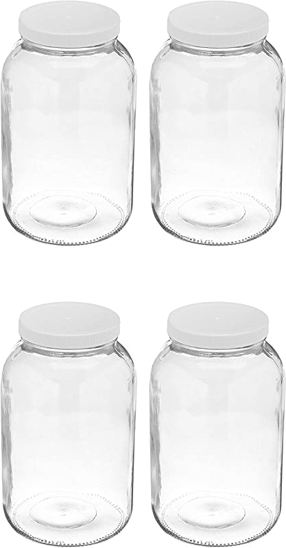 4 Pack Wide Mouth 1 Gallon Clear Glass Jar White Lid With Liner Seal For Fermenting Kombucha Storing And Canning USDA Approved Dishwasher Safe