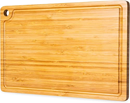 discount Cutting Board for Kitchen - Organic Bamboo Chopping Boards With Juice Groove outlet sale and Hook, Reversible Wooden Carving Board for Meat Cheese and new arrival Vegetables online sale