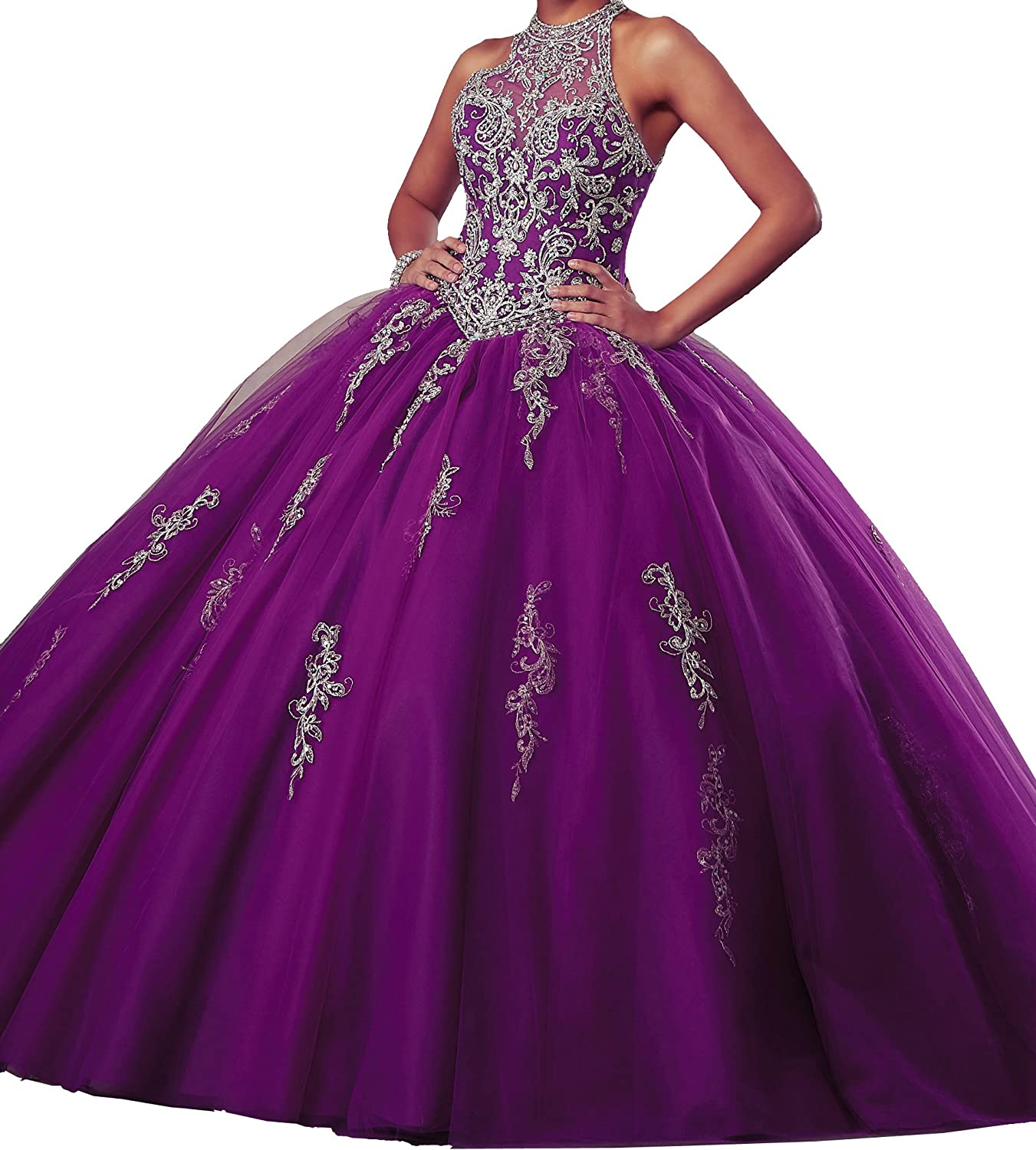 PuTao Women's Illusion Neckline Evening Party Prom Quinceanera Dresses
