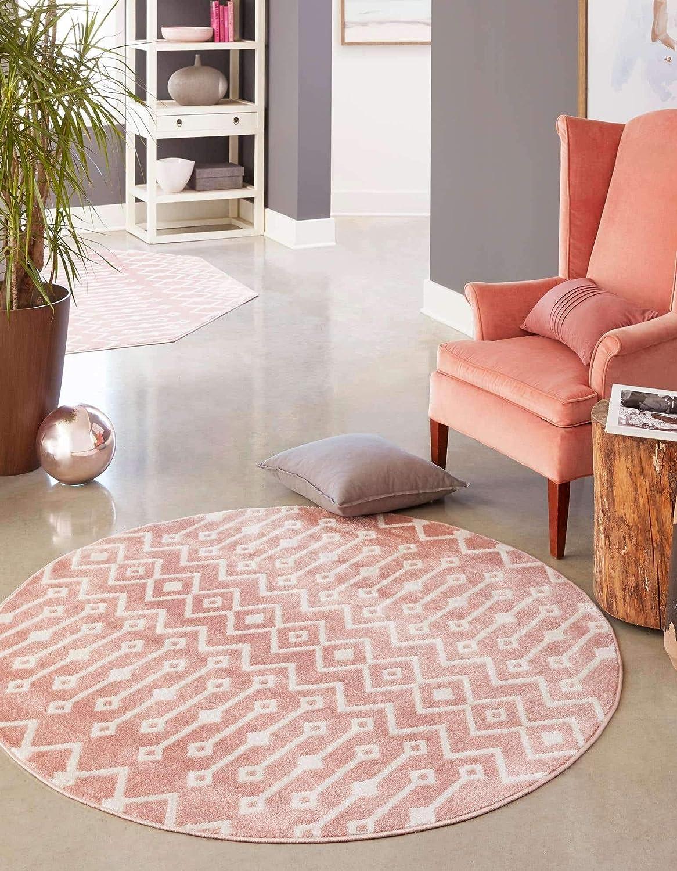 Unique Loom お得 Bohemian Trellis Collection 好評 Geometric Modern Pink Iv