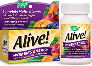Nature's Way Women's Energy Multivitamin Tablets, Fruit and Veggie Blend (100mg per Serving), 50 Tablets