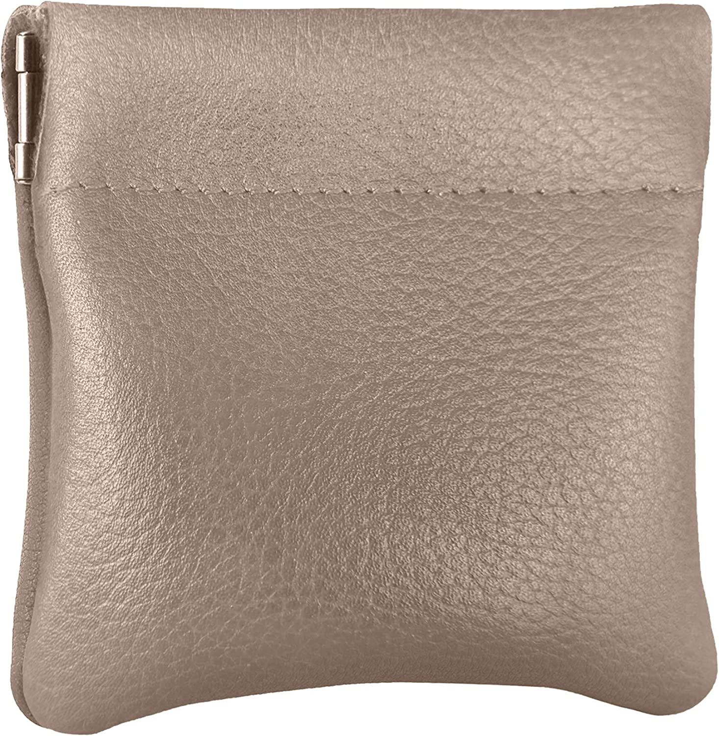 Nabob Leather Genuine Leather Squeeze Coin Purse, Coin Pouch Made IN U.S.A. Change Holder For Men/Woman Size 3.5 X 3.5 (Grey)