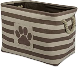 Bone Dry Striped Paw Patch Bin, Medium Rectangle, Brown