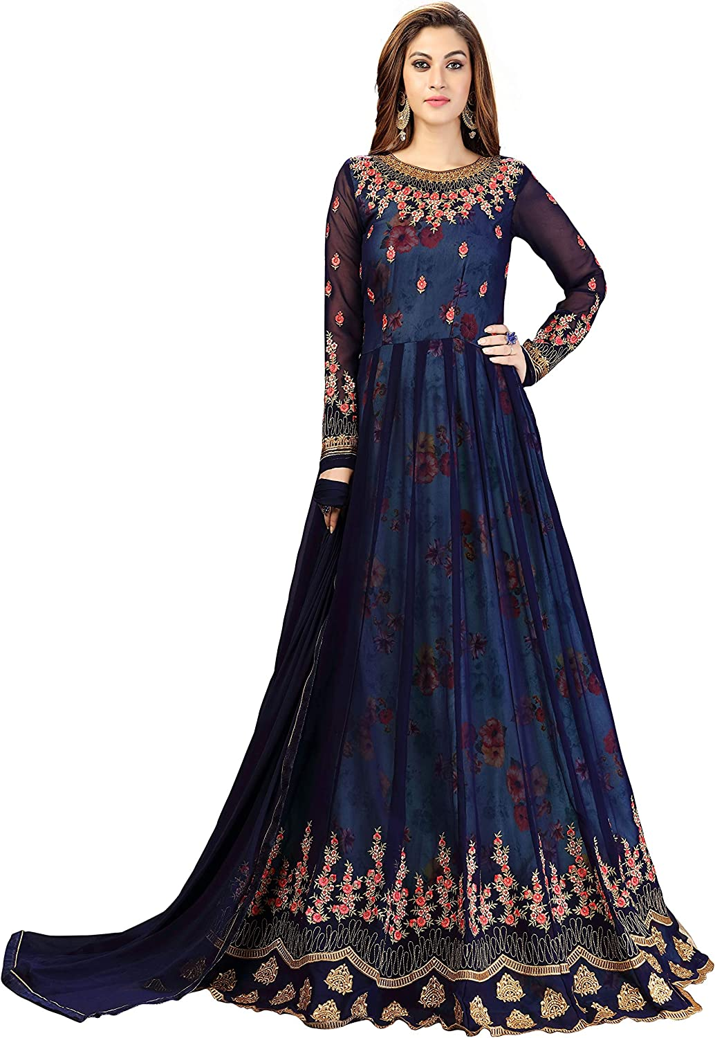 Time sale Sales of SALE items from new works Nivah Fashion Women's Embroidered Suit - Anarkali Semistitched