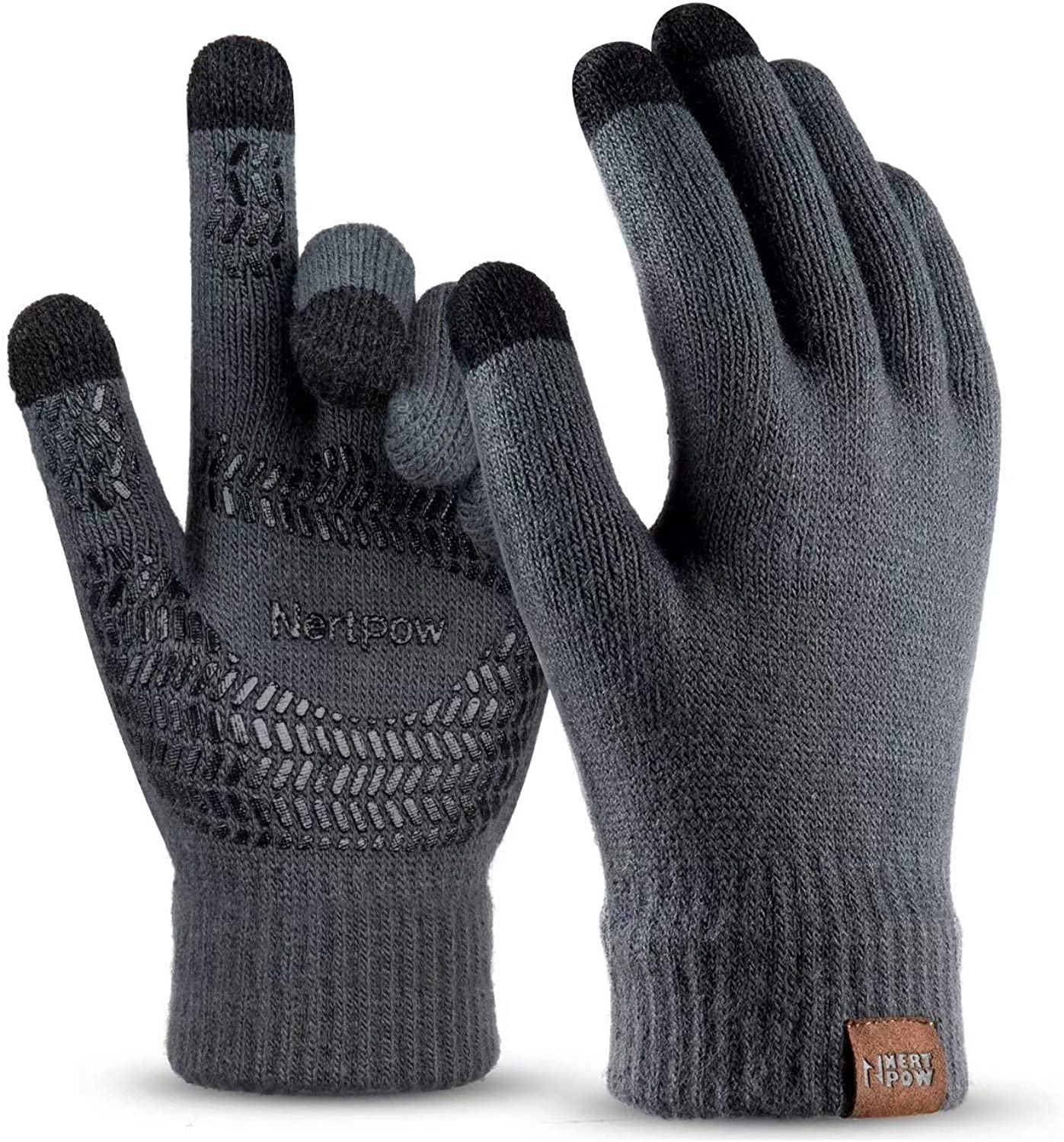 Winter Knit Gloves For Men And Women, Touch Screen Texting Soft Warm Thermal Fleece Lining Gloves With Anti-Slip Silicone Gel (Dark Gray-L)
