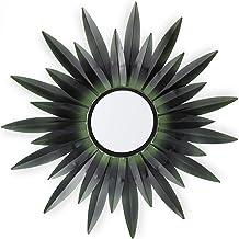 Relaxdays Decoratiespiegel Zon, Design B, rond, om op te hangen, metalen frame, woon- & slaapkamer, sierspiegel, donkergro...