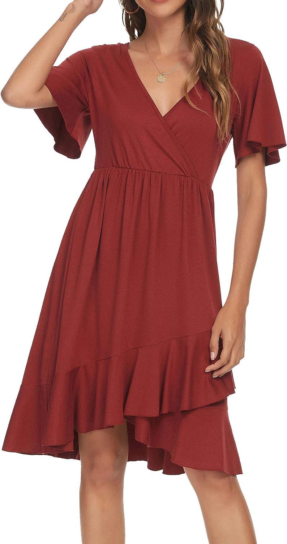 Laughido Women's Short Sleeve Wrap V Neck Ruffle Swing Casual Dress