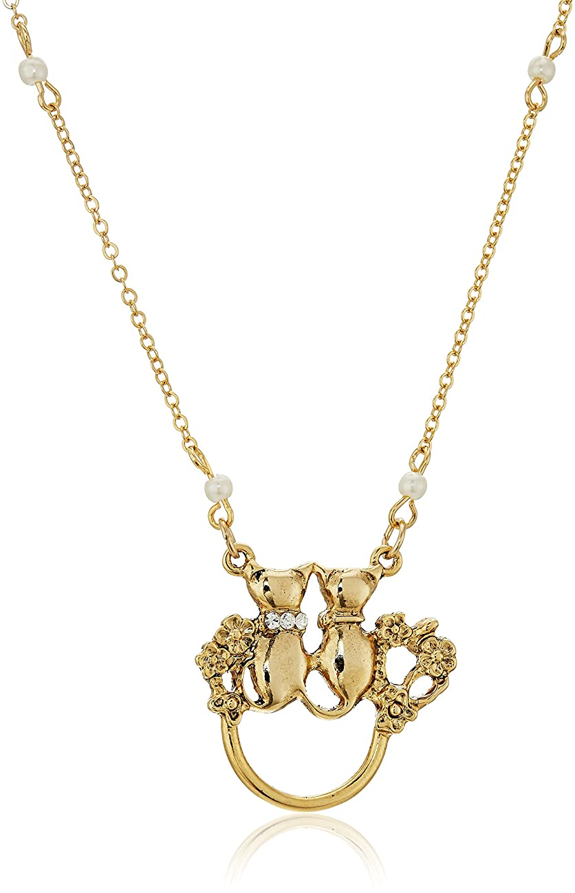 1928 Jewelry Womens Gold-Tone Simulated Pearl Crystal Double Cat Eyeglass/Badge Holder Pendant Enhancer, 28