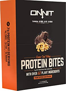 New! Onnit Protein Bites (Chocolate Peanut Butter - Box of 24) | Made with Grass Fed Whey & over 60 Plant Ingredients | 7g Protein Per Bar