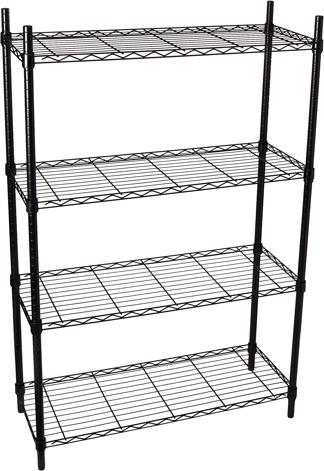 Honey-Can-Do SHF-01908 Adjustable Storage Shelving Unit, 250-Pounds Per Shelf, Black, 4-Tier, 36Lx14Wx54H