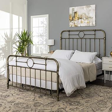 Walker Edison Furniture Company Vintage Metal Iron Pipe Queen Size Bed Headboard Bedroom, Bronze