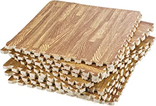 Interlocking Floor Tiles - Interlocking Foam Mats Wood - Wood Interlocking Foam Mats - 12 x 12 Inch (Pack of 9)