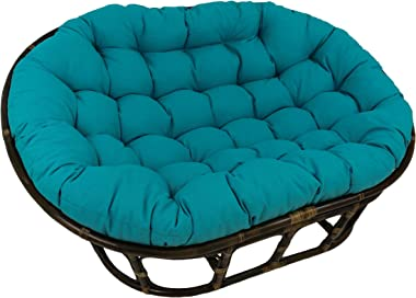"Blazing Needles Solid Outdoor Spun Polyester Double Papasan Cushion, 65"" x 48"", Aqua Blue"