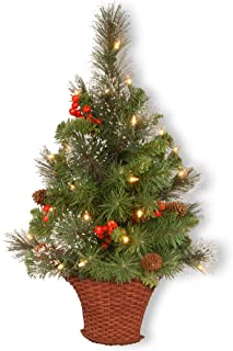 National Tree 3 Foot Crestwood Spruce Half Tree with Silver Bristle, Cones, Red Berries and 50 Battery Operated Warm White LED Lights in Basket (CW7-306-3HT-B)