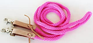 Horse Roping Tack Western Barrel Contest Nylon Reins Tie Ends Snaps Pink 607505