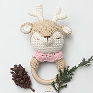 [Handmade by Bunny] X-max Crochet Baby Rattle Deer - Reindeer Wooden Ring - Animal Plush Toy - Perfect Infant Teething Toy to use