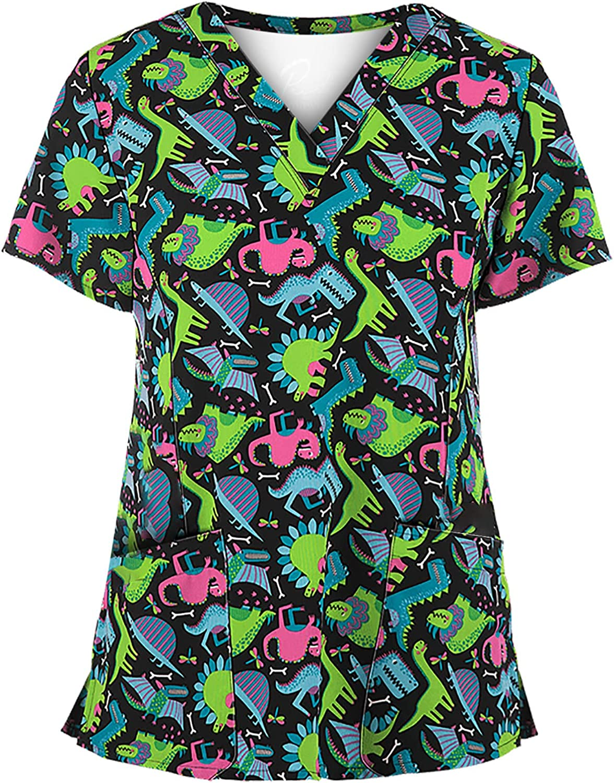 Working Uniform T Shirt Women Print Short Sleeve V-Neck Scrub_Tops Tee with Pockets