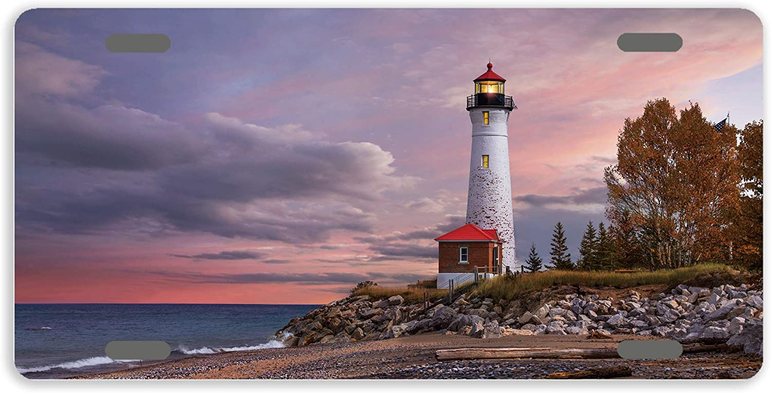 Eprocase Metal License Plate Cover quality Fees free!! assurance Lic Sunset Novelty Lighthouse