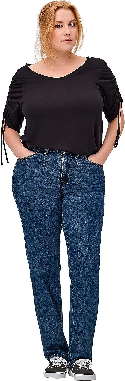 ellos Women's Plus Size Straight Stretch Jeans