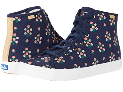 Keds Kickstart Hi Posy Embroidered (Navy Embroidered Canvas) Women